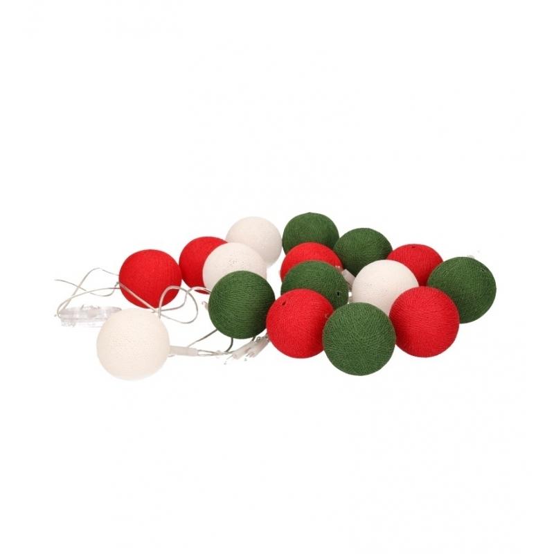 Woondecoratie lichtsnoer rood-wit-groen