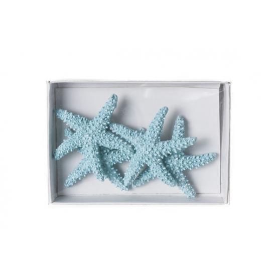 Zeesterren decoratie lichtblauw 4st van 4,5cm