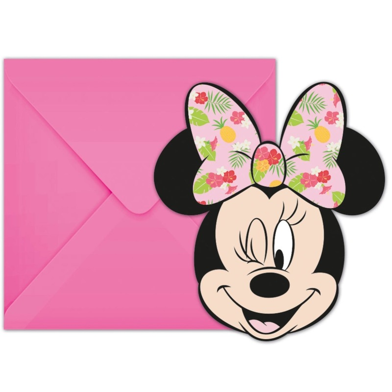 12x Disney Minnie Mouse feestartikelen uitnodigingen 7 cm papier-karton