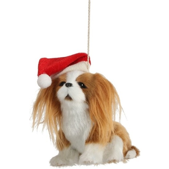 1x Kersthangers figuurtjes Japanse Chin hond 11 cm