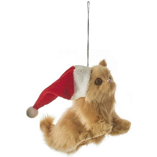 1x Kersthangers figuurtjes kat-poes 12 cm