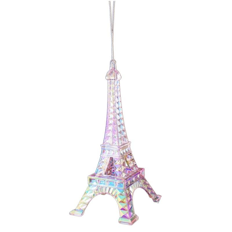 1x Kersthangers figuurtjes roze parelmoer acryl Eiffeltoren