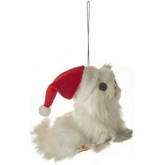 1x Kersthangers figuurtjes witte kat-poes 12 cm