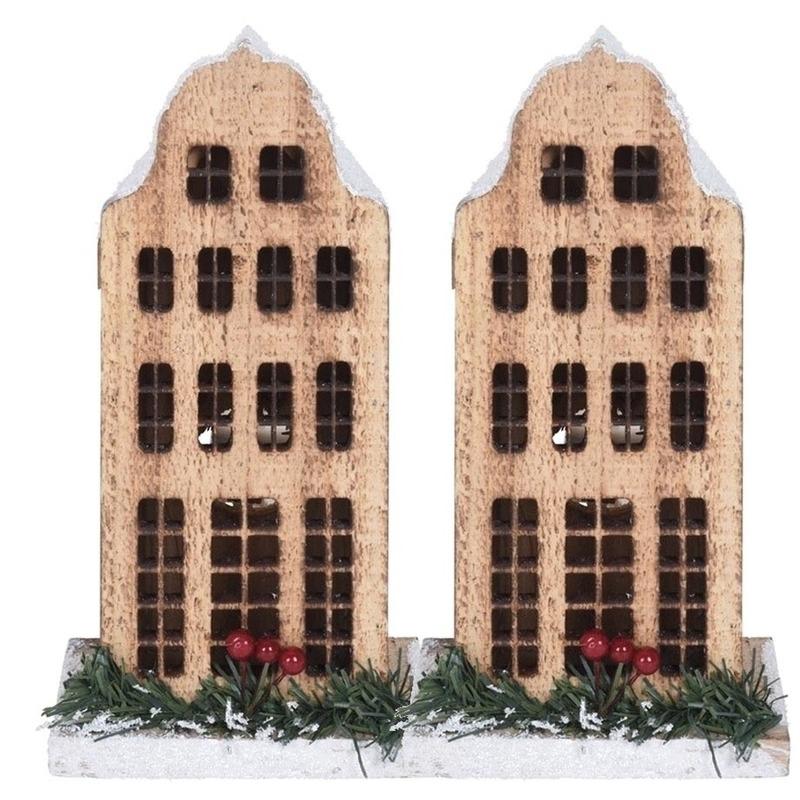 2x Kerst landschap kerstdorp huisje grachtenpand klokgevel 21 cm met licht