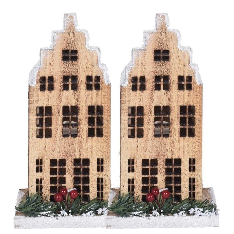 2x Kerst landschap kerstdorp huisje grachtenpand trapgevel 21 cm met licht