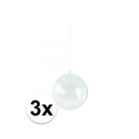 3x Plastic kerstballen vulbaar 14 cm