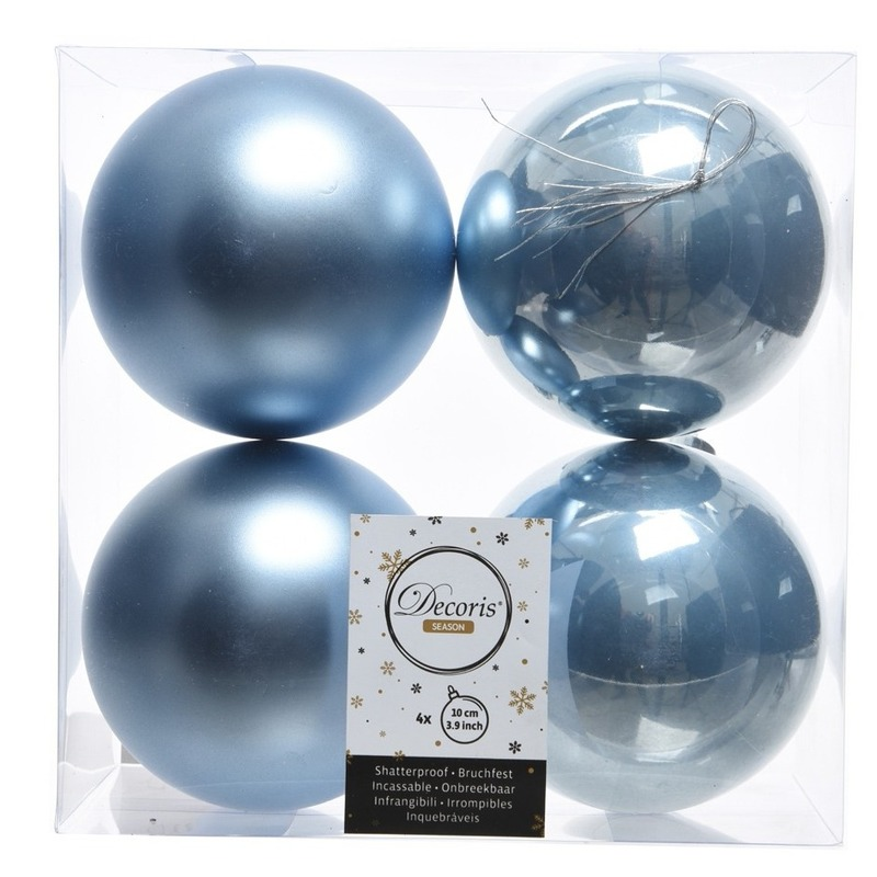 4x IJsblauwe kerstversiering kerstballen kunststof 10 cm