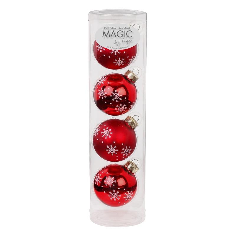 4x Rode kerstballen van glas Noorse sneeuw print 6 cm