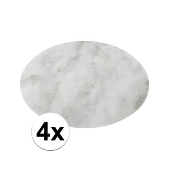 4x ronde tafel onderlegger marmerlook wit 38 cm