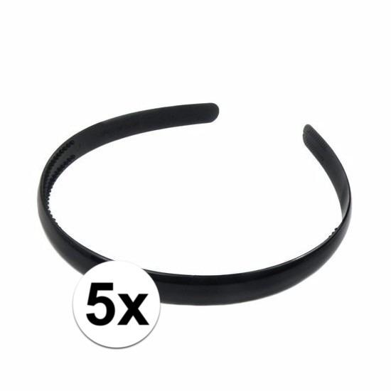 5x Haaraccessoires zwarte haardbandjes voor dames