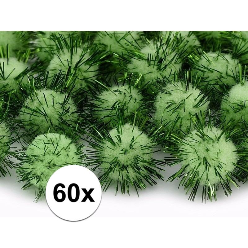 60x Appelgroene decoratie pompons 20 mm