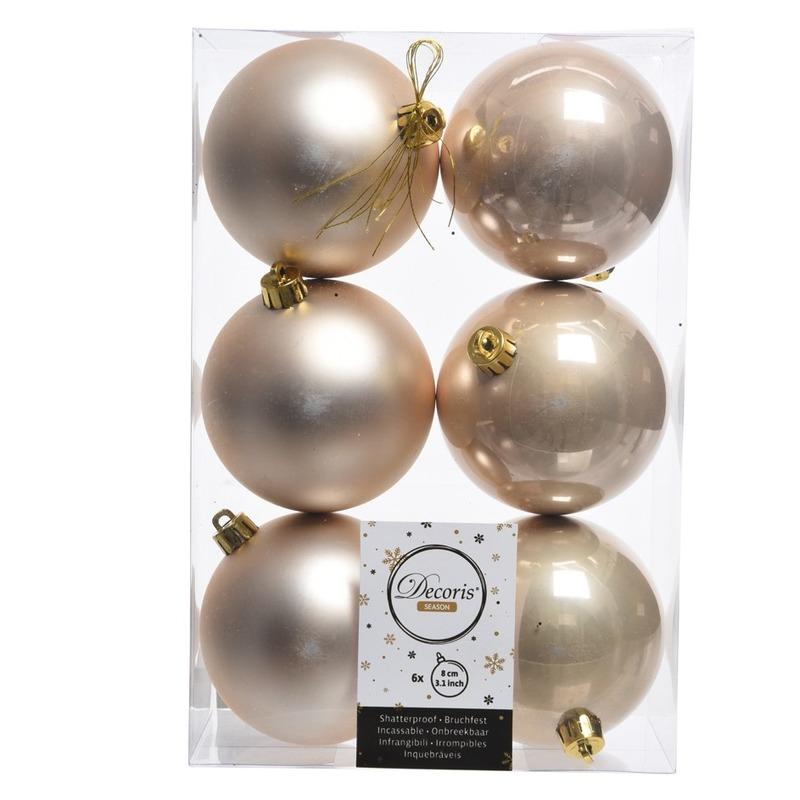 6x Kerstboom ballen creme 8 cm
