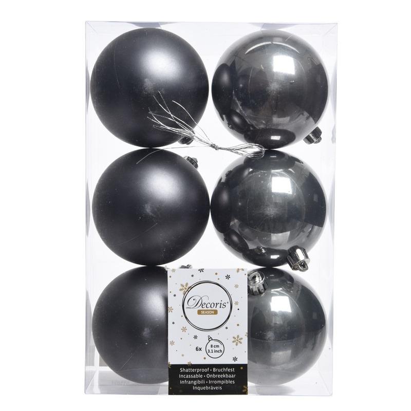 6x Kerstboom ballen donker grijs 8 cm