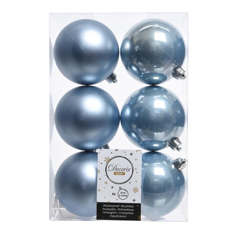 6x Kerstboom ballen ijsblauw 8 cm