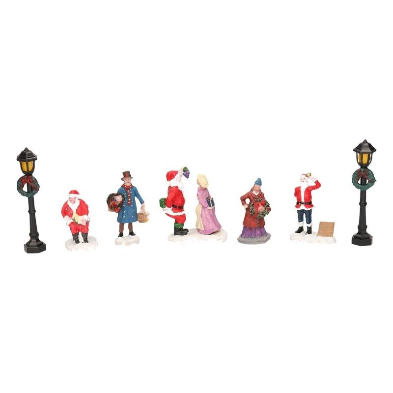 7x Kerstversiering kerstdorp figuurtjes-inwoners type 2
