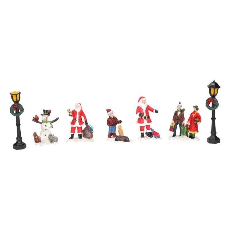 7x Kerstversiering kerstdorp figuurtjes-inwoners type 3