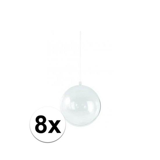 8x Plastic kerstballen vulbaar 14 cm