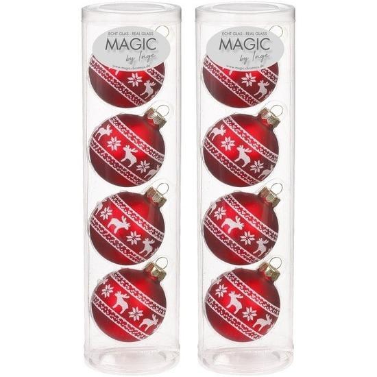 8x Rode kerstballen van glas Noorse rendier print 6 cm