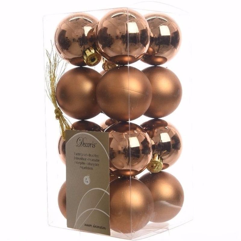 Ambiance Christmas bronzen kerstversiering kleine kerstballen pakket 16 stuks