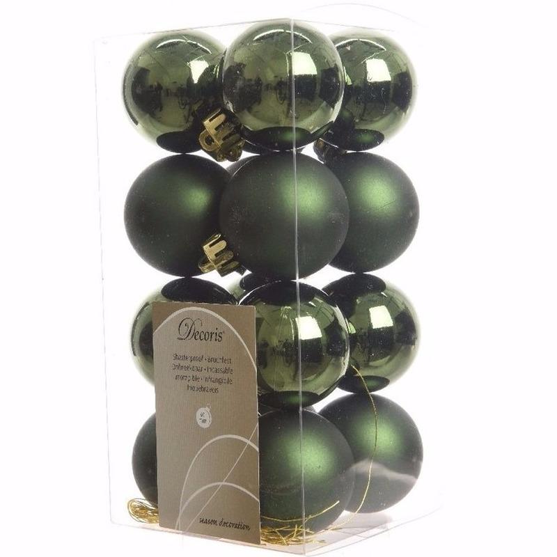 Ambiance Christmas groene kerstversiering kleine kerstballen pakket 16 stuks