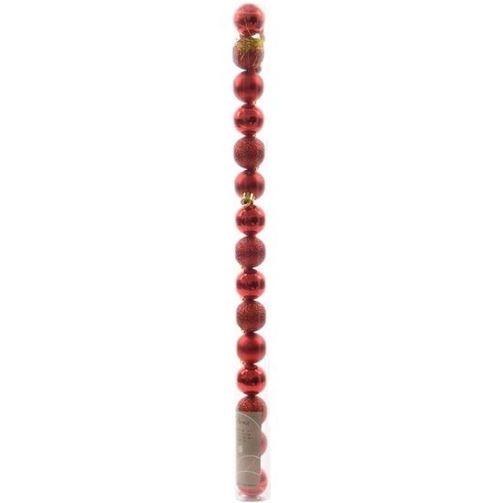 Ambiance Christmas rode kerstversiering kleine kerstballen pakket 15 stuks