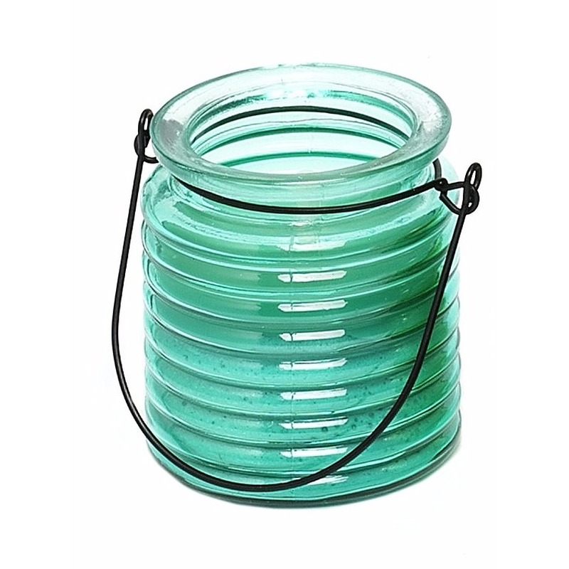 Tuin artikelen Blauwe anti muggen kaars in glazen potje