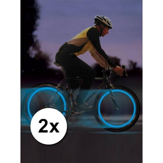 Blauwe LED ventiellichtjes voor op je fiets
