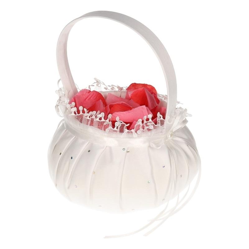 Bruidsmeisje accessoires mandje met roze rozenblaadjes