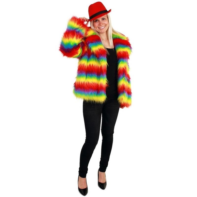 Carnaval bontjas regenboog kleuren voor dames