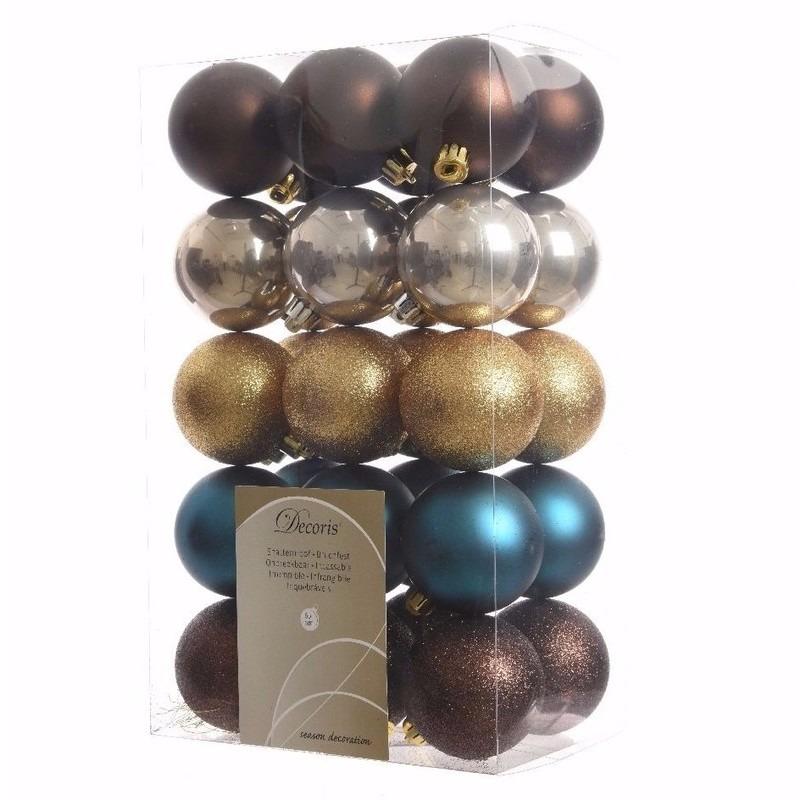 Chique Christmas bruine-parel-blauwe kerstversiering kerstballen pakket 30 stuks