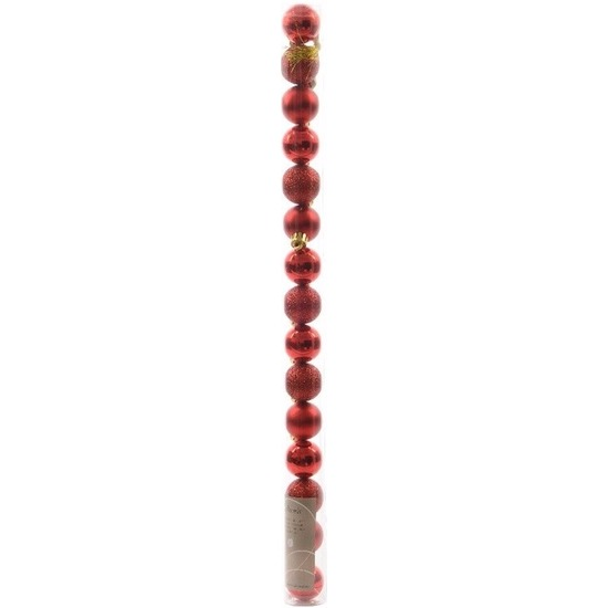 Christmas Red rode kerstversiering kleine kerstballen pakket 15 stuks