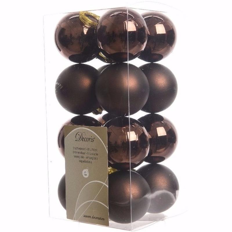 Cosy Christmas bruine kerstversiering kleine kerstballen pakket 16 stuks