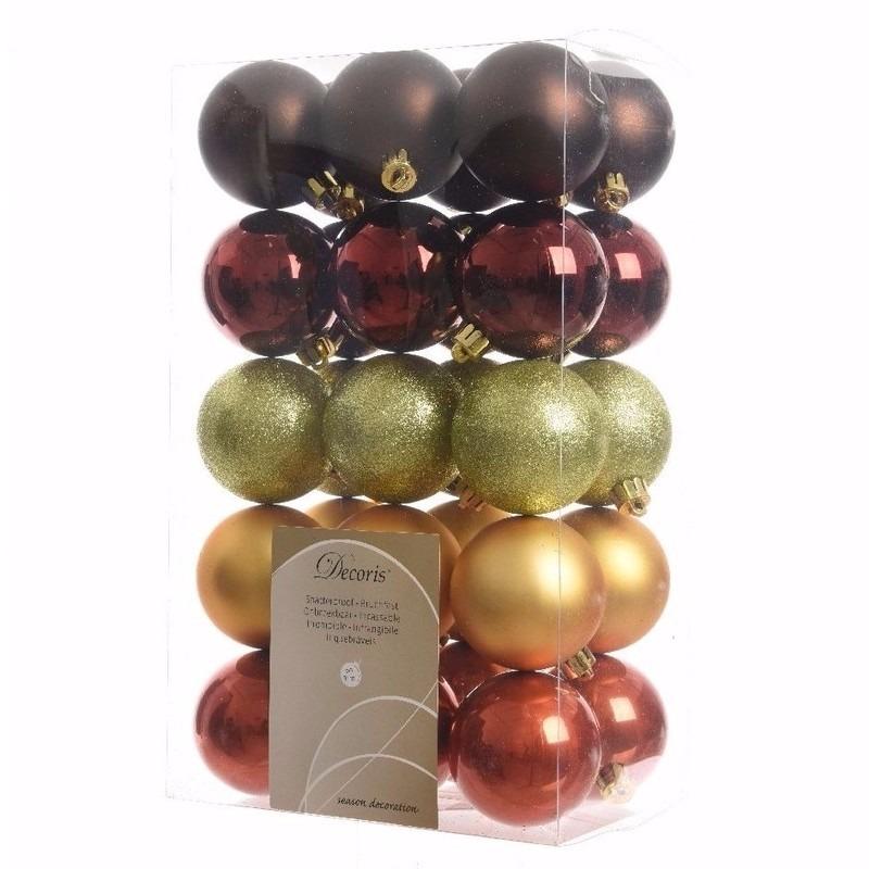Cosy Christmas rode-bruine-groene kerstversiering kerstballen pakket 30 stuks