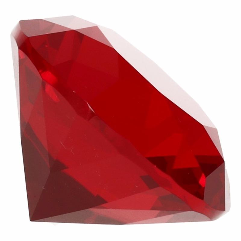 Decoratie namaak diamanten-edelstenen-kristallen rood 5 cm