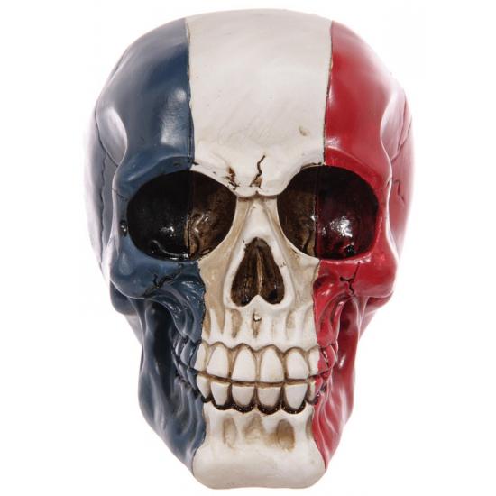 Decoratie schedel rood-wit-blauw