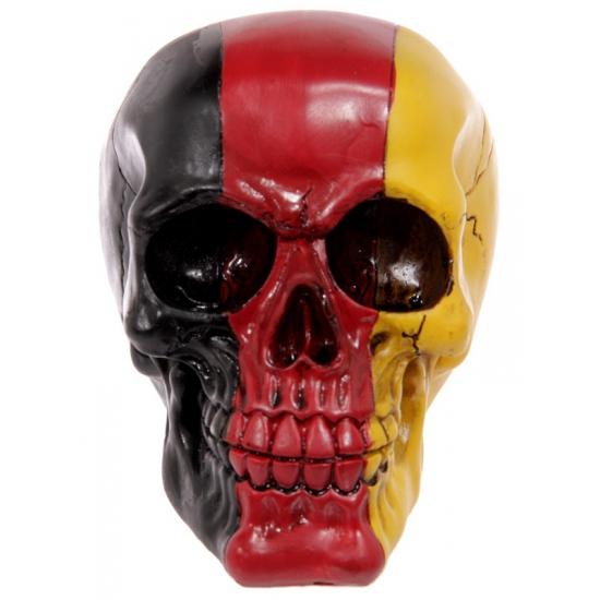 Decoratie schedel zwart-rood-geel