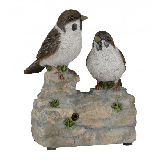 Decoratie vogel tuinbeeldje mussen met geluid 11 cm