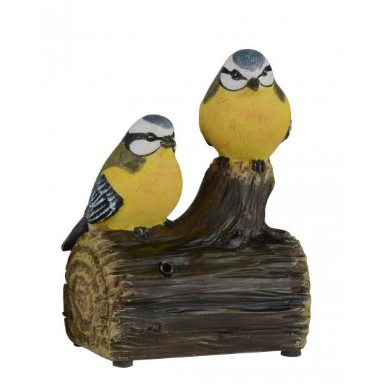 Decoratie vogel tuinbeeldje pimpelmezen met geluid 11 cm