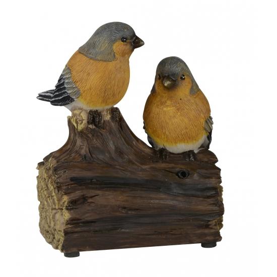 Decoratie vogel tuinbeeldje vinken met geluid 11 cm