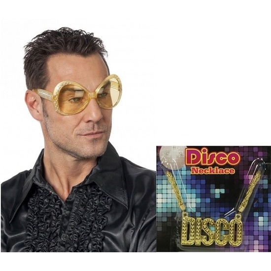 Disco verkleedsetje gouden bril met disco ketting