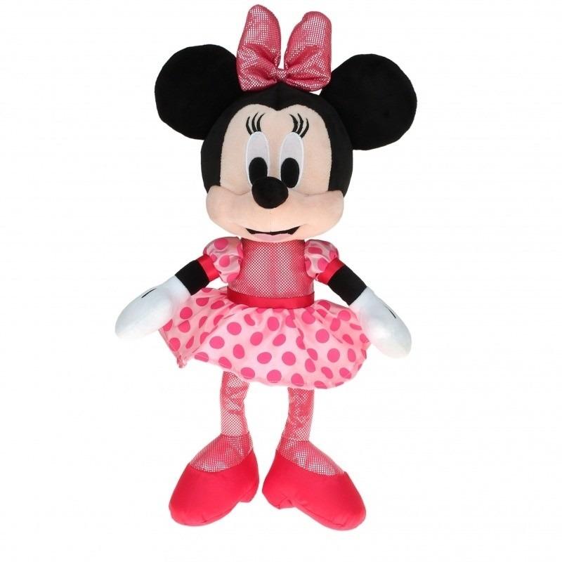 Disney Minnie Mouse knuffel ballerina met roze jurk 40 cm