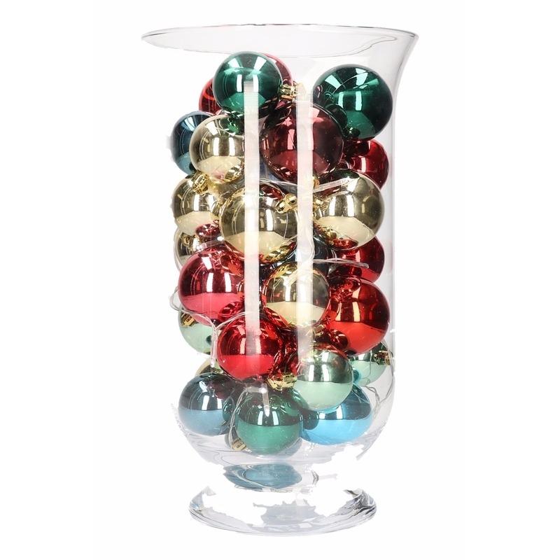 DIY kerstdecoratie vaas met gekleurde ballen 30 cm