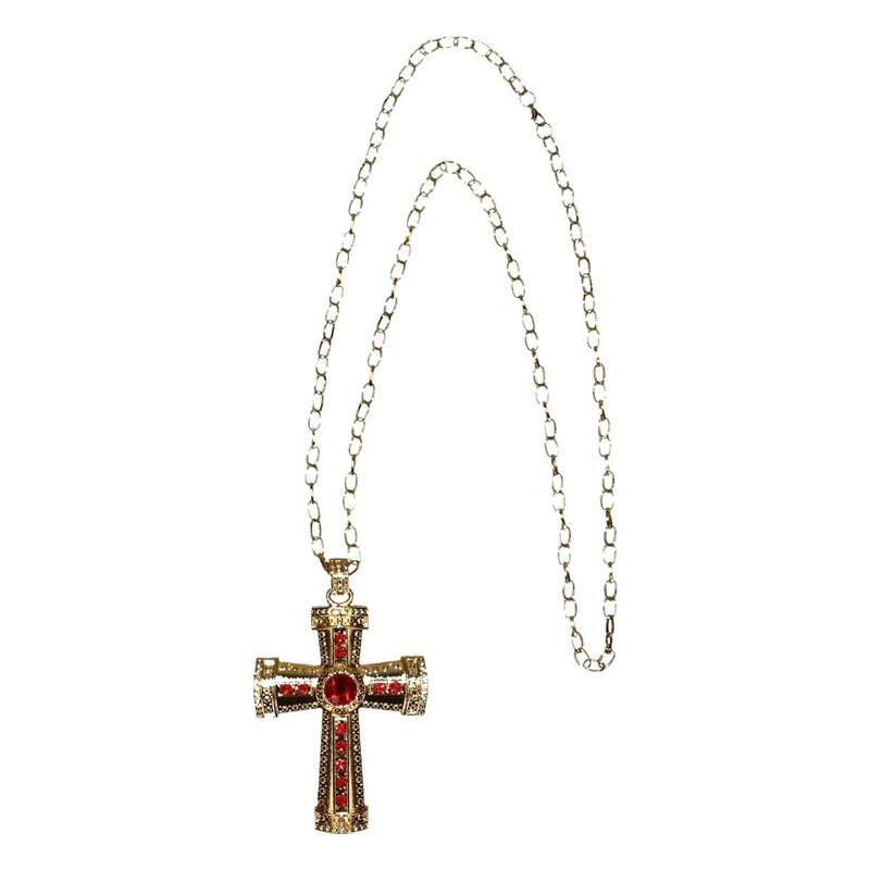 Feest Sinterklaasketting verkleedaccessoire goud met kruis en rode stenen voor heren