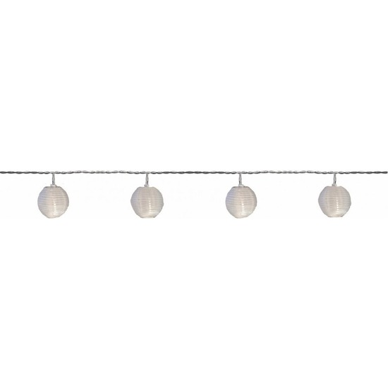 Feest tuinverlichting snoer 2,5 meter witte lampion-lantaarn LED verlichting op zonne-energie
