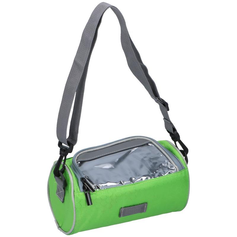 Fietsstuurtas groen met smartphone houder 20 cm