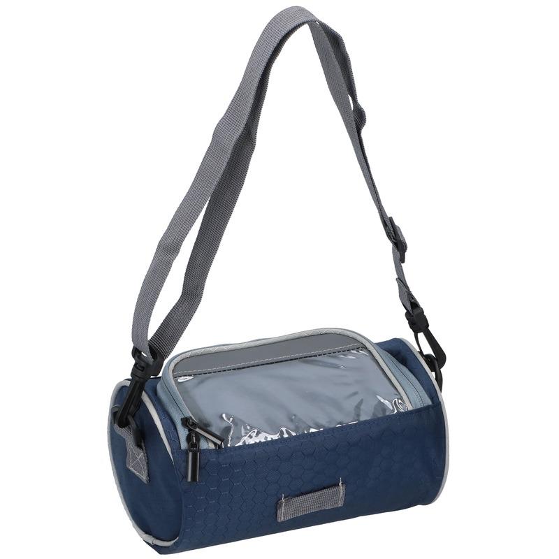 Fietsstuurtas navy blauw met smartphone houder 20 cm