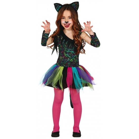 Gekleurd tijgerprint carnaval kostuum voor meisjes