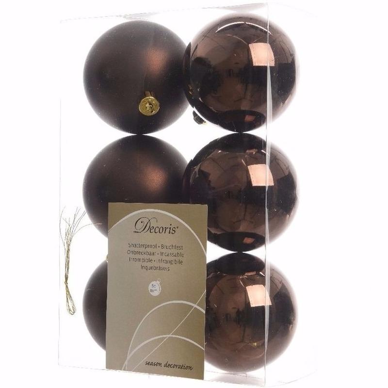 Glamour Christmas bruine kerstversiering kerstballen pakket 6 stuks
