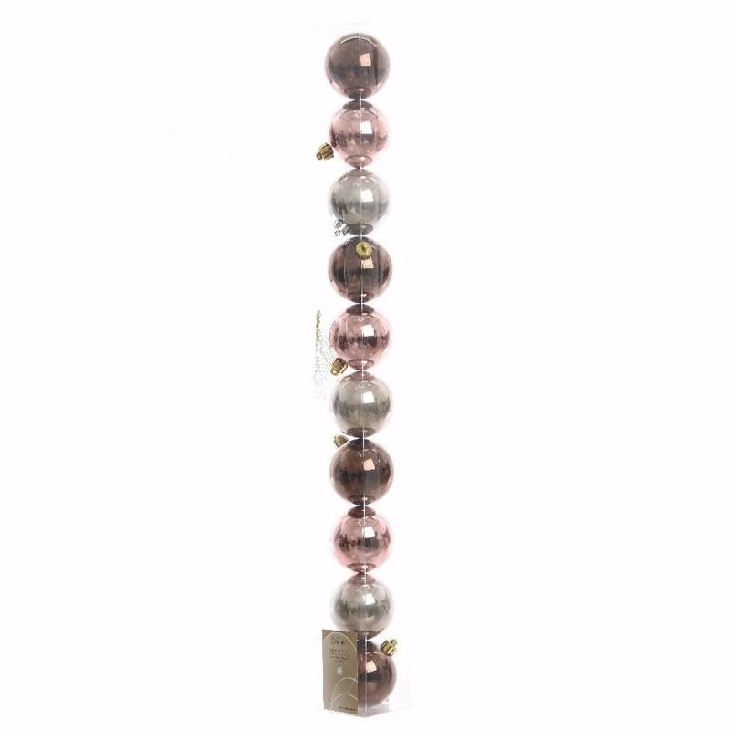 Glamour Christmas bruine-roze-zilveren kerstversiering glanzende kerstballen pakket 10 stuks