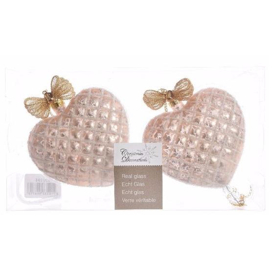 Glazen kerstballen in de vorm van oud roze hartjes 2 stuks